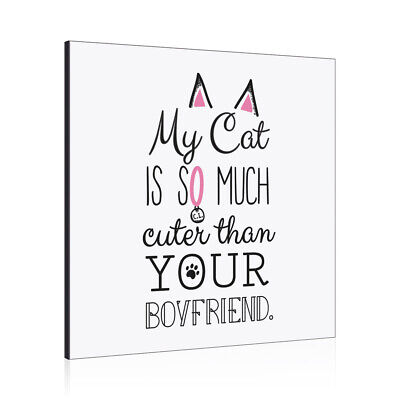 My Cat Is So Much Cuter Than Your Boyfriend Wall Art Panel Frame Funny • 19.99£