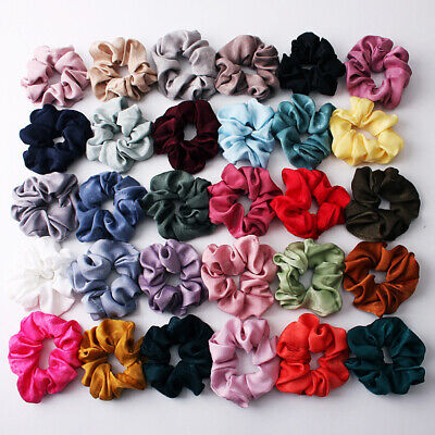 Soft Silky Satin Solid Hair Scrunchies Elastic Hair Bands Ponytail Hair Tie Rope • 0.75$