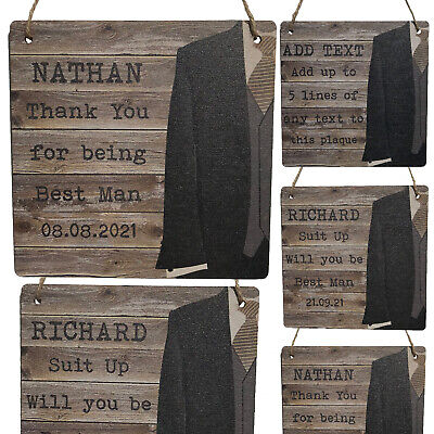 £7.99 • Buy Personalised Groomsmen Gifts Best Man Thank You Will You Be Groomsman Usher Sign