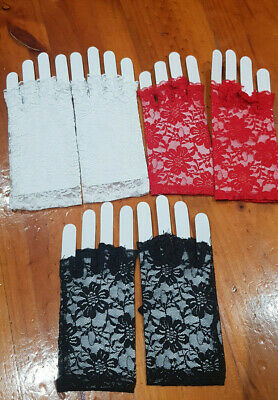 AU4.75 • Buy Red/Black/White Lady Party Costume Wedding Lace Fingerless Floral Gloves / Glove