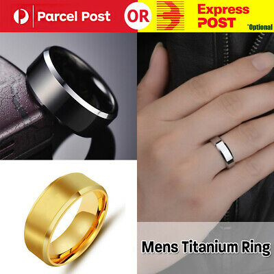 AU4.80 • Buy Mens Titanium Stainless Steel Ring Promise Engagement Wedding Ring Band Size8-10