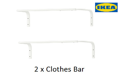 2 X Ikea White Mulig Clothes Bar,Wall Mounted, Clothes Rail ,Towel Rail ,Hanging • 19£