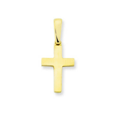 9ct Yellow Gold Solid Plain Cross Pendant - Optional 9ct Gold Chain  • 69£
