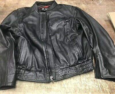 Street And Steel Leather Motorcycle Jacket Xl • 101.39$