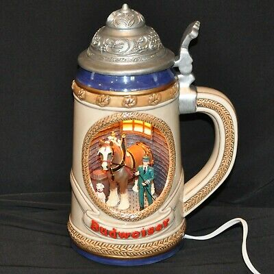 $ CDN154.65 • Buy Budweiser Light Up Beer Stein Lamp Clydesdale Horse Dalmatian Stable Man Cut Out