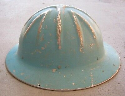 Vintage Willson Safety Helmet Tough Aluminum Hard Blue Hat, Made In Usa, Good! • 62.95$