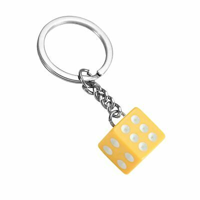 Dice Keyring Yellow Colourful Novelty Die Keychain • 2.95£