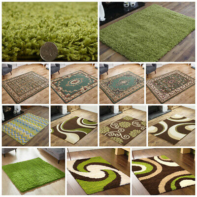 Modern Small Large Runner Shaggy Traditional Clearance Budget Lime Green Rug • 21.32£