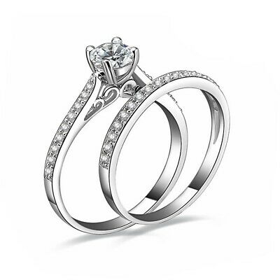 £3.49 • Buy 925 Sterling Silver Plated Diamond Couple Rings Crystal Engagement Gift Set