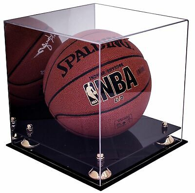 Full Size Basketball Display Case With Gold Risers And Mirror (A001-GR) • 64.19$