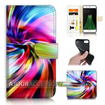 AU12.99 • Buy ( For Oppo A57 ) Wallet Flip Case Cover AJ40038 Abstract Rainbow