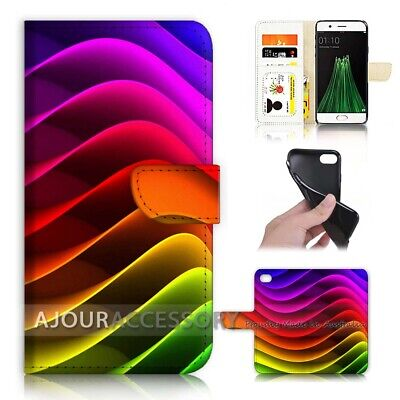 AU12.99 • Buy ( For Oppo A57 ) Wallet Flip Case Cover AJ40090 Abstract Rainbow