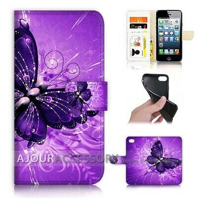 AU12.99 • Buy ( For Huawei Y5 2018 ) Wallet Flip Case Cover AJ40371 Purple Butterfly
