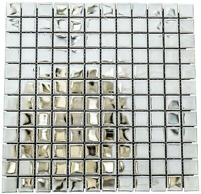 Mirrored Aluminium&Ceramic Mosaic Tiles | 1 Sheet 30 Cm X 30 Cm | 11 Sheets 1sqm • 13£