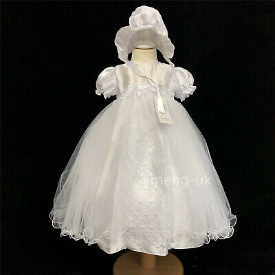 £29.99 • Buy Gorgeous Baby Girl White Satin Christening Gown Matching Hat Romany Embroidery