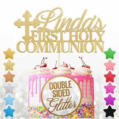Personalised First Holy Communion Cake Topper Any Name With Cross Glitter Decor • 2.99£