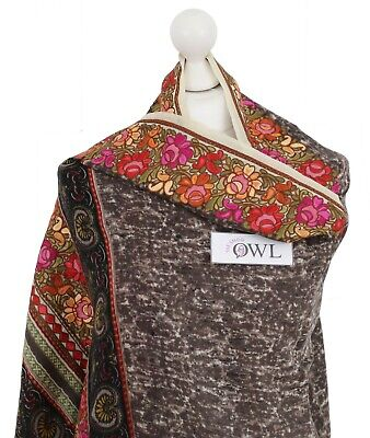 £43.20 • Buy Pretty Floral Indian Embroidered Shawl Stole 100% Wool Pashmina Scarf Gifts UK