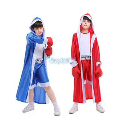 £20.71 • Buy H4-4 Champ Child's Boxer Costume Book Week Boy's Sport Outfit Blue Red