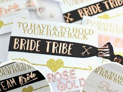 Rose Gold Bride Tribe Team Bride Wristbands Hen Do Party Gift Bag Favours Ideas • 0.99£