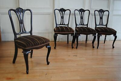 AU375 • Buy Handsome Set Of C19th Antique Edwardian Dining Chairs - Art Nouveau Styling