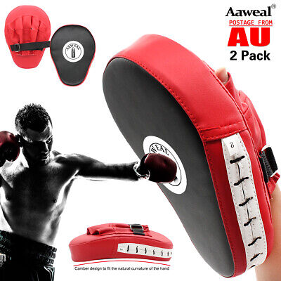 AU25.98 • Buy Boxing Focus Pads Hook & Jab Mitts MMA Thai Kick Training Punch Bag Curved Pads