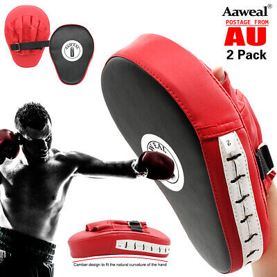 AU27.99 • Buy Boxing Focus Pads Hook & Jab Mitts Thai Kick MMA Training Punch Bag Curved Pads