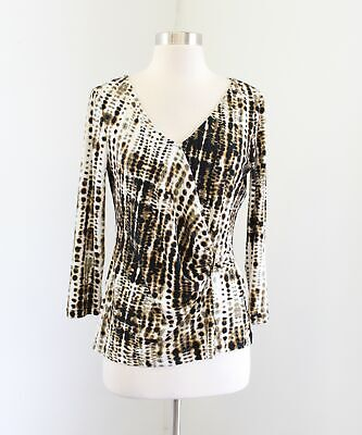 $ CDN30.22 • Buy Ivanka Trump Abstract Print Ruched 3/4 Sleeve Top Blouse Sz M Black Copper White