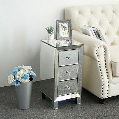 £82.95 • Buy Mirrored Glass Bedside Table Cabinet 3 Drawers And Crystal Handles Bedroom Furni