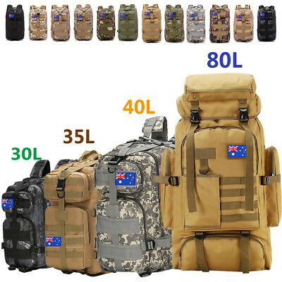 AU40.98 • Buy 30L/80L Camping Hiking Bag Army Military Tactical Backpack Rucksack Sport Travel
