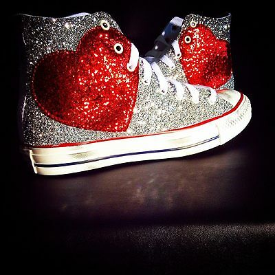 Converse All Star With Heart IN Glitter Red & Silver Glitter • 131.73£