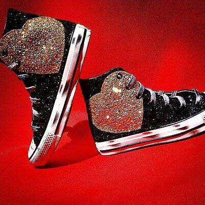 Converse All Star With Heart IN Glitter Gold & Glitter Black • 131.73£