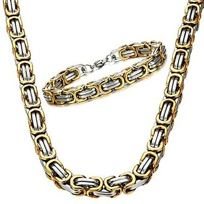 £9.99 • Buy Men's 316L Stainless Steel Necklace Byzantine Box Chain Link Fashion Chunky Gift