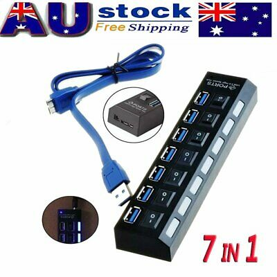 AU17.99 • Buy 7 Port USB 3.0 HUB Powered + High Speed Splitter Extender PC AC Switch Cable AU
