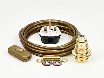 Table Lamp Wiring Kit Brass Bulb Holder E14 SES Fit 10mm Switch Cable Plug • 10.95£