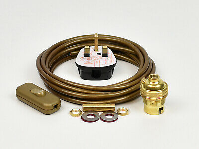 Lamp Wiring Kit Brass Bulb Holder BC B22 Fitting Flex Cable Plug & Switch • 10.95£