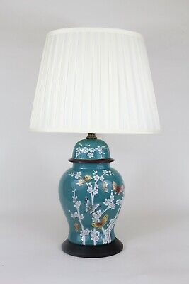 £64.99 • Buy Oriental Ceramic Table Lamp With Shade - Turquoise - Butterfly & Floral Design