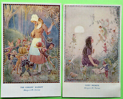 Lot Of 2, FAIRY HOURS SERIES, Margaret W. Tarrant Post Card THE GOBLIN MARKET • 10.49£