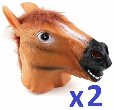 £13.24 • Buy 2 Pack X Horse Head Fancy Dress Latex Animal Mask Halloween Party Movie Costume