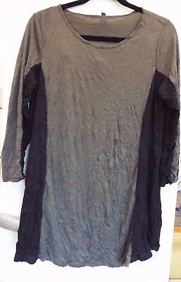 £25 • Buy Yong Kim Crinkle Tunic With Contrast Panel Detail Size 10 Musk/black