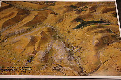 3D Aerial Panoramic Map Of The Three Peaks Yorkshire No29 Unusual Gift Idea • 4.95£