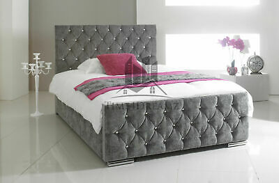 £459.99 • Buy Diamond Upholstered Fabric Bed Frame Chenille Leather Double King Size Mattress