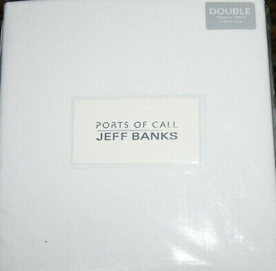 Jeff Banks Fitted Double Size Sheet White 135 X 190 Cm Ports Of Call Brand New • 14.95£