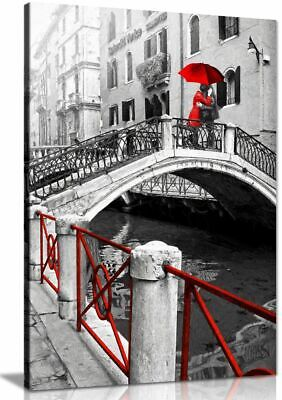 £11.99 • Buy Black & White Red Painting Venice Romantic Canvas Wall Art Picture Print