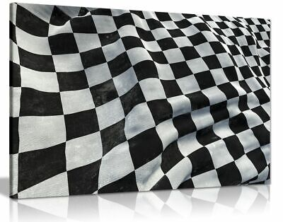 F1 Racing Chequered Flag Boys Bedroom Canvas Wall Art Picture Print • 11.99£