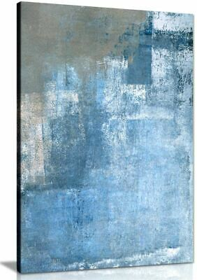 Grey And Blue Abstract Painting Canvas Wall Art Picture Print • 11.99£
