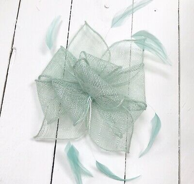Sage Green Feather Fascinator Hair Clip Or Hairband Ladies Day Races Wedding • 17.99£