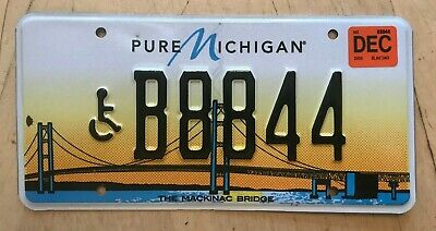 $24.99 • Buy Disabled Person  Handicapped License Plate   B 8844   Mackinac Bridge Wheelchair