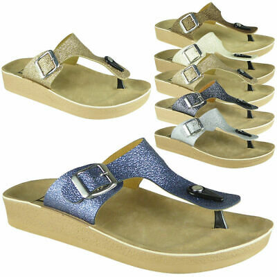 Womens T-Bar Sandals Ladies Toe Post Glitter Flats Buckle Slip On Shoes Size • 8.99£