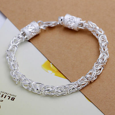 $5.49 • Buy 8'' Women 925 Sterling Silver Link Chain Dragon Bracelet Round Lobster Clasp