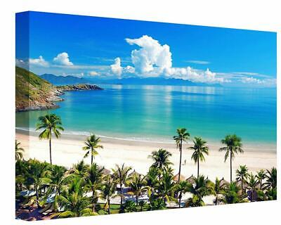 Tropical Island Palm Tree Beach Seascape Canvas Wall Art Picture Print Picture • 33£